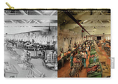 Carry-all Pouch featuring the photograph Plane - Factory - Aircraft Repair 1919 - Side By Side by Mike Savad