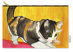 Carry-all Pouch featuring the painting Playful Kitten by Dobrotsvet Art