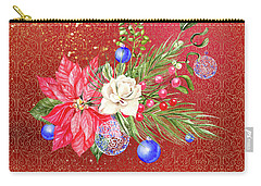 Poinsettia With Blue Ornaments  Carry-all Pouch