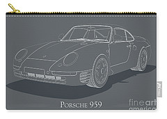Porsche 959 - White Blueprint On Grey Carry-all Pouch