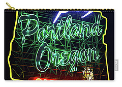 Carry-all Pouch featuring the photograph Portland White Stag Sign 11318 by Rospotte Photography