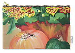 Pumpkin With Flowers Carry-all Pouch