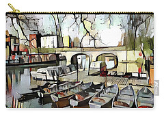Carry-all Pouch featuring the digital art Punting On The Thames - Watercolour by Pennie McCracken