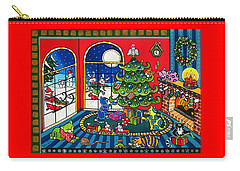Purrfect Christmas Cat Painting Carry-all Pouch