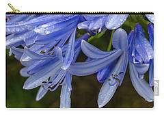 Rain Drops On Blue Flower Carry-all Pouch
