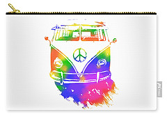 Rainbow Colored Peace Bus Carry-all Pouch