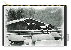 Ranch Buildings And Benches In Snow Carry-all Pouch