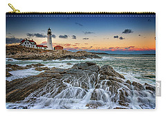 Carry-all Pouch featuring the photograph Receding Cascade At Portland Head by Rick Berk