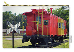 Carry-all Pouch featuring the photograph Red And Yellow Caboose At Nassawadox by Bill Swartwout Fine Art Photography