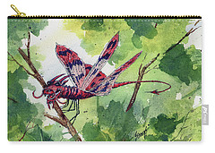 Carry-all Pouch featuring the painting Red Dragonfly by Sam Sidders