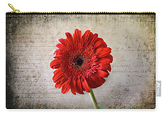 Carry-all Pouch featuring the photograph Red Gerbera by Milena Ilieva