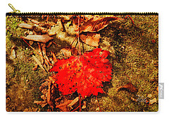 Red Leaf On Mossy Rock Carry-all Pouch