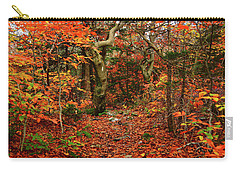 Carry-all Pouch featuring the photograph Red Oaks And At Blaze Horizontal by Raymond Salani III
