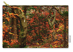 Carry-all Pouch featuring the photograph Red Oaks And At Blaze Vertical by Raymond Salani III