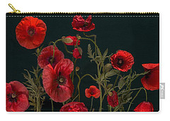 Red Poppies On Black Carry-all Pouch