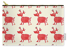 Carry-all Pouch featuring the painting Red Reindeer Pattern by Maria Langgle