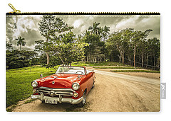 Carry-all Pouch featuring the photograph Red Vintage Car by Top Wallpapers