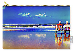 Carry-all Pouch featuring the photograph Retieiees Lawn Chairs On The Beach Surf  by Tom Jelen