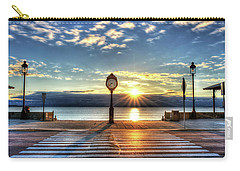Revere Beach Clock At Sunrise Angled Long Shadow Revere Ma Carry-all Pouch