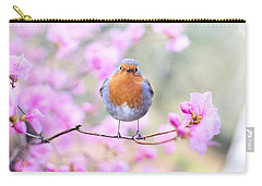 Robin On Pink Flowers Carry-all Pouch