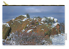 Carry-all Pouch featuring the photograph Rock Snow Sky by Jon Burch Photography
