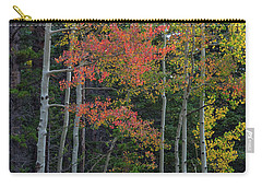 Carry-all Pouch featuring the photograph Rocky Mountain Forest Reds by James BO Insogna