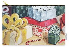 Carry-all Pouch featuring the painting Santa Was Here by Maria Langgle
