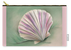 Carry-all Pouch featuring the pastel Scallop Shell With Pine Twigs by MM Anderson