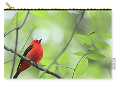 Carry-all Pouch featuring the photograph Scarlet Tanager by Rick Veldman