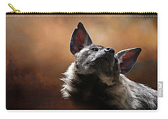 Carry-all Pouch featuring the photograph Scenting The Air - Striped Hyena by Debi Dalio