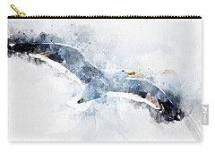 Seagull In Flight With Watercolor Effects Carry-all Pouch