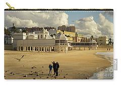 Carry-all Pouch featuring the photograph Seagulls At Caleta Beach Cadiz Spain by Pablo Avanzini