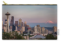 Carry-all Pouch featuring the photograph Seattle Skyline And Mt. Rainier Panoramic by Adam Romanowicz