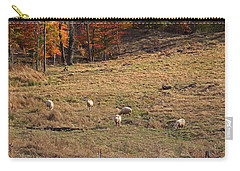 Carry-all Pouch featuring the photograph Sheep In A Field by Angela Murdock