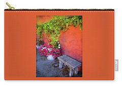 Carry-all Pouch featuring the photograph Sidewalk Floral In Brownsville by Thom Zehrfeld