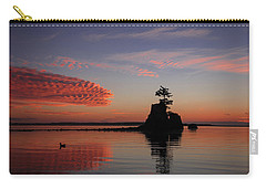 Carry-all Pouch featuring the photograph Siletz Bay Sunset With Gull by Mary Jo Allen