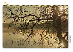Silhouette Of A Tree By The River At Sunrise Carry-all Pouch