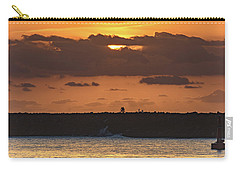Silhouettes, Breakwall And Sunrise Seascape Carry-all Pouch