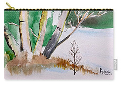 Silver Birch In Snow Carry-all Pouch