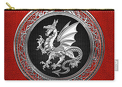 Silver Winged Norse Dragon - Icelandic Viking Landvaettir On Black And Silver Medallion Over Red  Carry-all Pouch