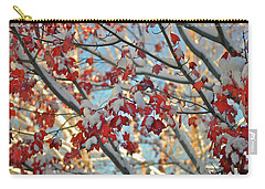Snow On Maple Leaves Carry-all Pouch