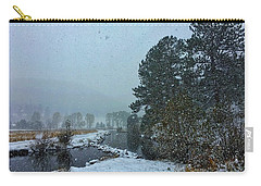 Carry-all Pouch featuring the photograph Snowstorm At The Lake by Dan Miller