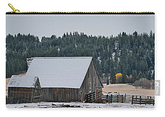 Snowy Barn Yellow Tree Carry-all Pouch
