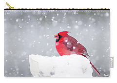 Carry-all Pouch featuring the photograph Snowy Cardinal by Lori Coleman