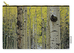 Carry-all Pouch featuring the photograph Snowy Gold Aspen by Gaelyn Olmsted