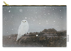 Snowy Owl On A Ledge Carry-all Pouch