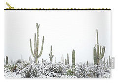 Snowy Saguaro Cactus Carry-all Pouch