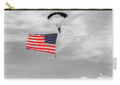 Carry-all Pouch featuring the photograph Socom Flag Jump In Selective Color by Doug Camara