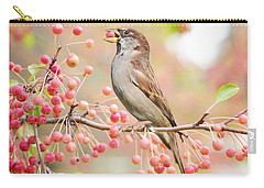 Carry-all Pouch featuring the photograph Sparrow Eating Berries by Top Wallpapers