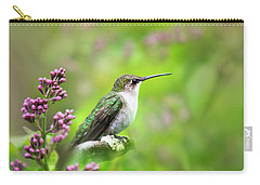 Carry-all Pouch featuring the photograph Spring Beauty Ruby Throat Hummingbird by Christina Rollo